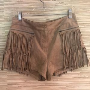 Vegan Suede Fringe Hot Pants
